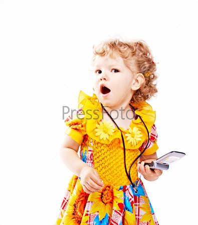 child with mobile telephone