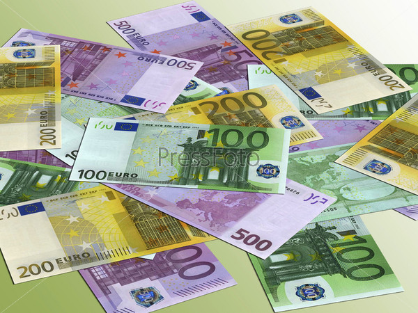 Купюры достоинством в 100, 200 и 500 евро
