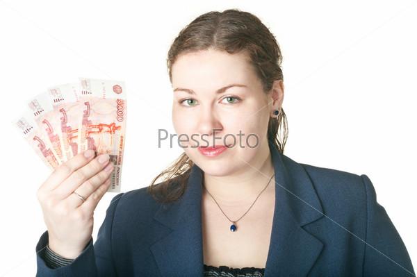 Женщина с деньгами в руке на белом фоне