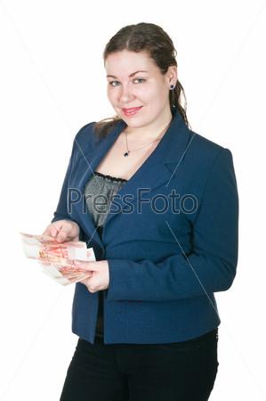 Женщина с наличными в руках на белом фоне