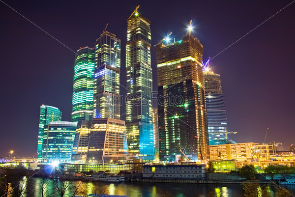 Skyscrapers at nighttime