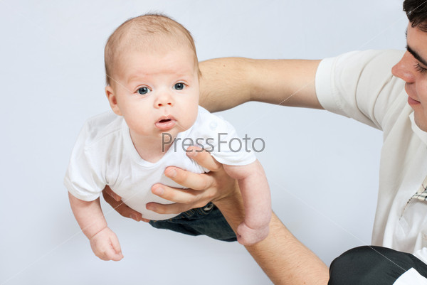 little baby in father hands