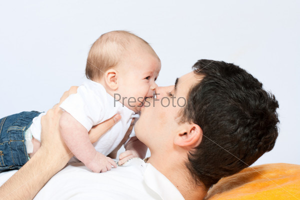 happy family - father and baby