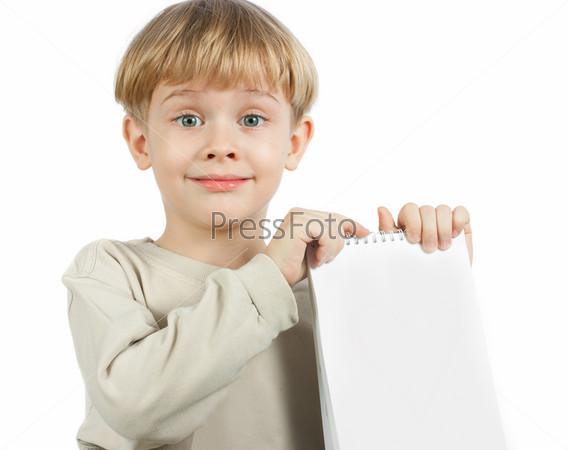 little boy with a notebook