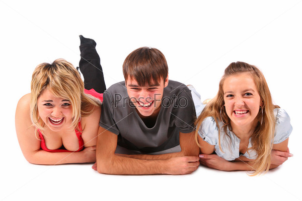 Boy and two girls lying