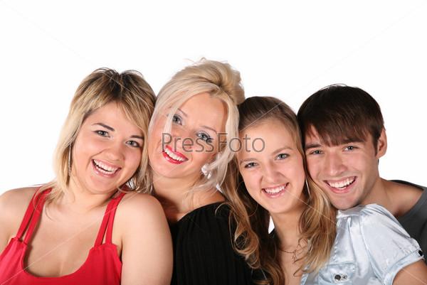 Улыбающиеся молодые люди на белом фоне
