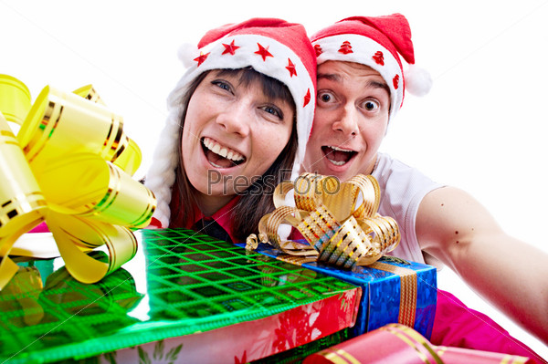 people with gift for Christmas