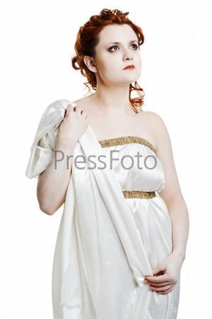 Girl dressed in greek costume on white