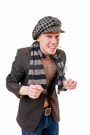 Stylish young man with cigarette