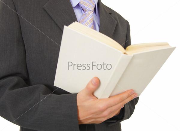 Большая белая книга в мужских рука