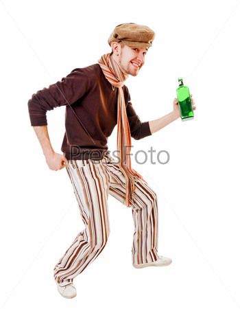 Young man with green bottle