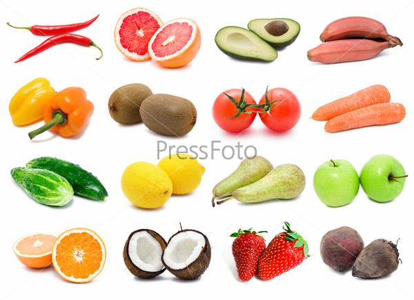 фоне фрукты на белом фото и овощи