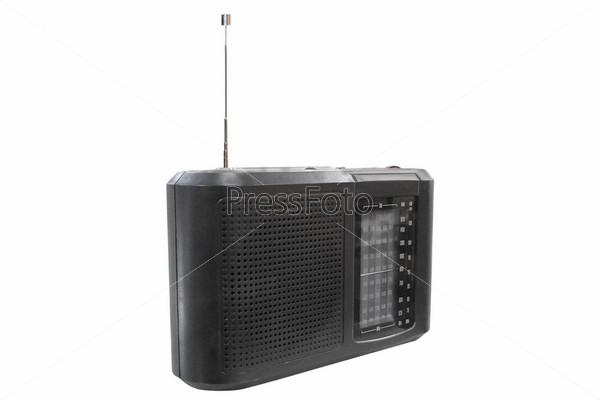 Фотография на тему Старый радиоприемник на белом фоне