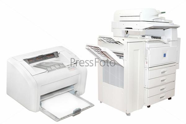 Фотография на тему Офисные принтеры на белом фоне
