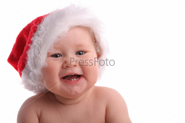 Baby child in a Christmas hat 2