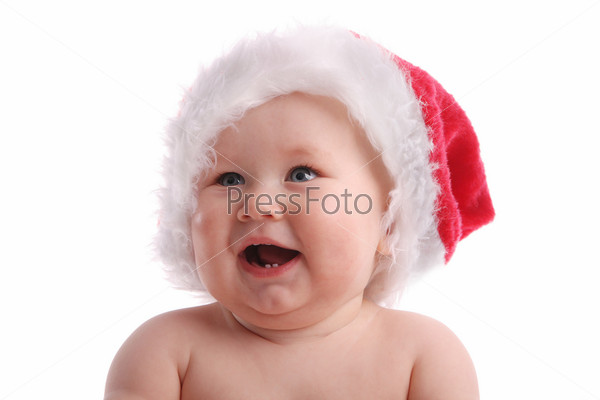 Baby child in a Christmas hat 5