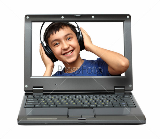 laptop with child listening music