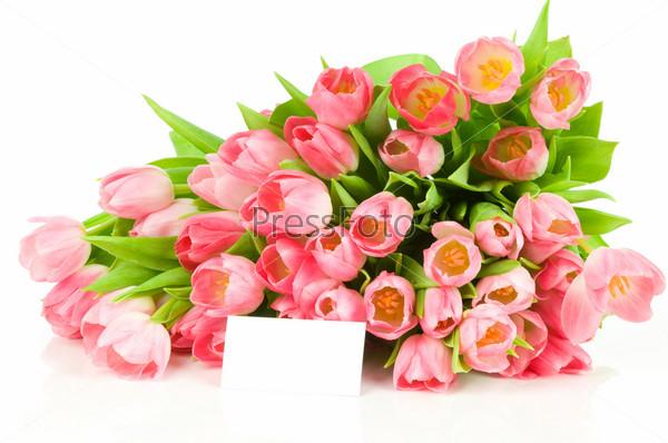 Букет тюльпанов и карточка для подписи