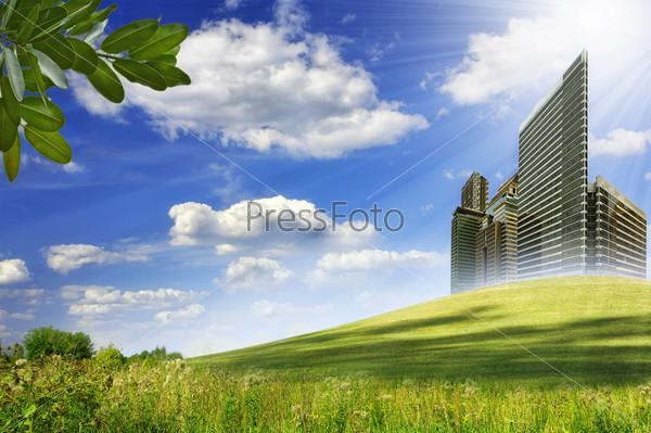 Абстрактный пейзаж с небоскребами под ярким солнцем