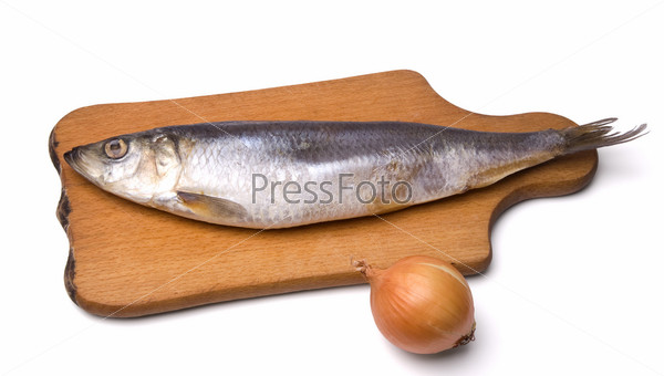Herring and onion on white background