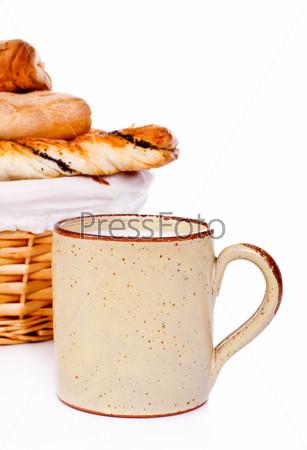 Bread Basket and Mug of Milk