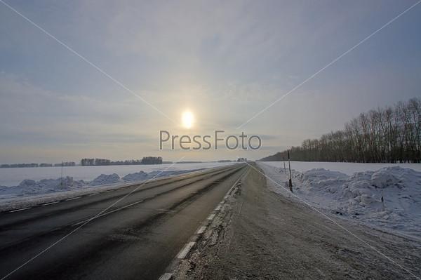 sun over  road