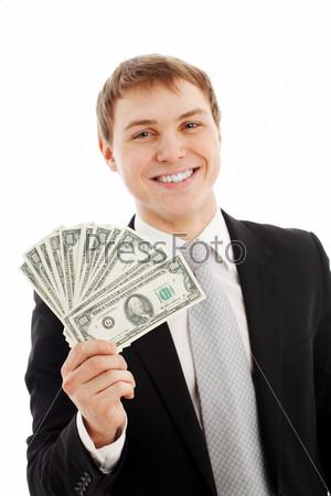 Мужчина с деньгами на белом фоне