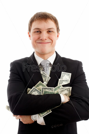 Happy man with dollars.