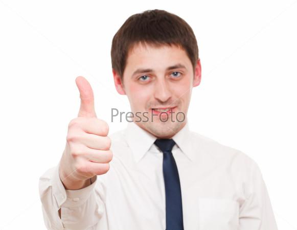 Man gesturing success sign