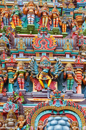 Sculptures on Hindu temple tower