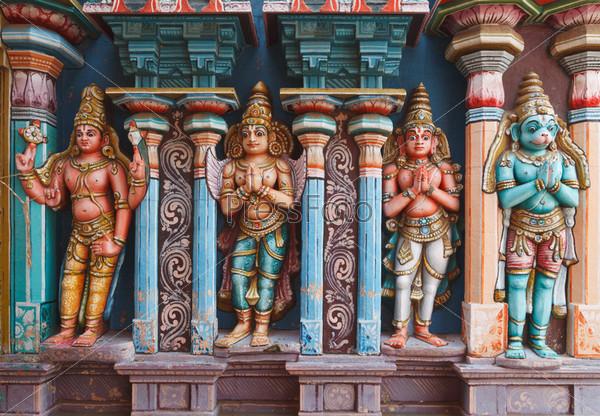 Hanuman statues in Hindu Temple. Sri Ranganathaswamy Temple. Tir