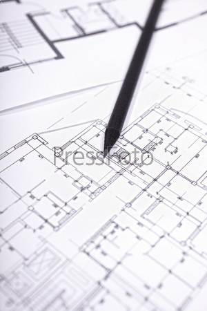 architectural plan of dwelling house with  pencil