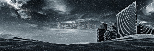 Ночная гроза над небоскребами, стоящими в поле