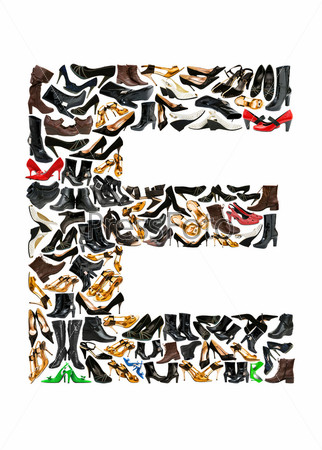 Font made of hundreds of shoes - Letter E