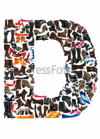 Font made of hundreds of shoes - Letter D