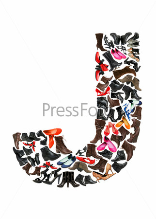 Font made of hundreds of shoes - Letter J
