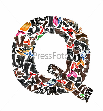 Font made of hundreds of shoes - Letter Q