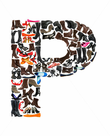 Font made of hundreds of shoes - Letter P