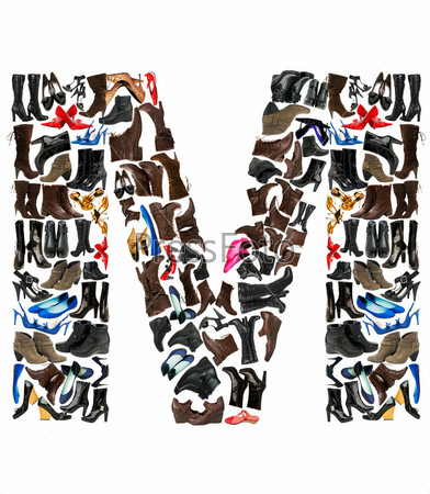 Font made of hundreds of shoes - Letter M