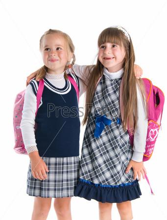 Beautiful little schoolgirls