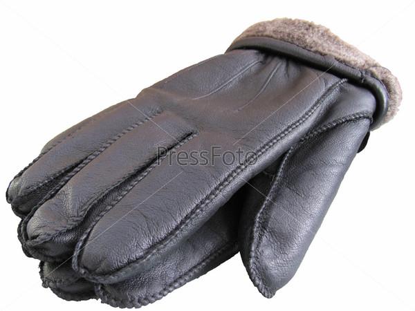 Кожаные перчатки на белом фоне