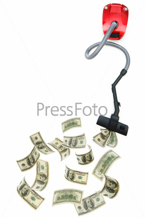 Concept with vacuum cleaner sucking money