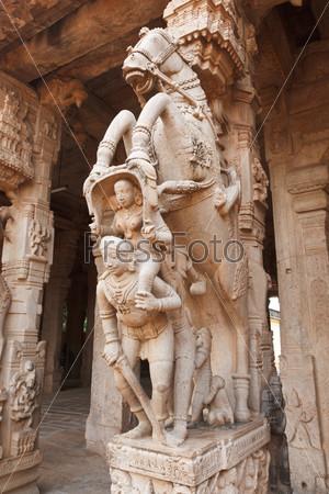 Statues in Hindu temple. Sri Ranganathaswamy Temple. Tiruchirapp
