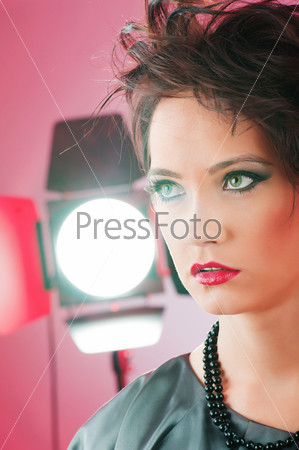 Fashion beauty concept with girl in studio