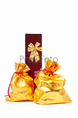Gift boxes and golden sacks