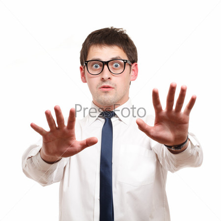 Businessman looks shocked