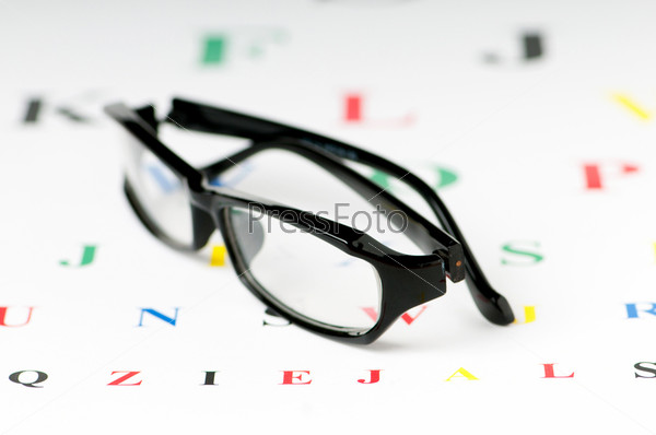 Optical reading glasses on the eyesight table