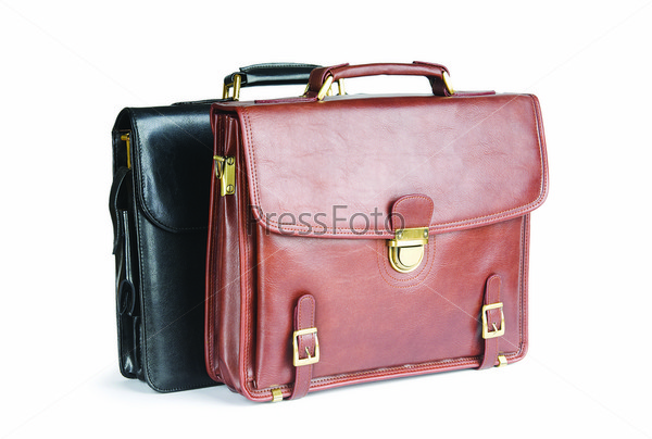Two leather briefcases isolated on the white