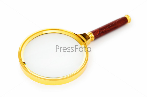 Magnifying glass isolated on the white background