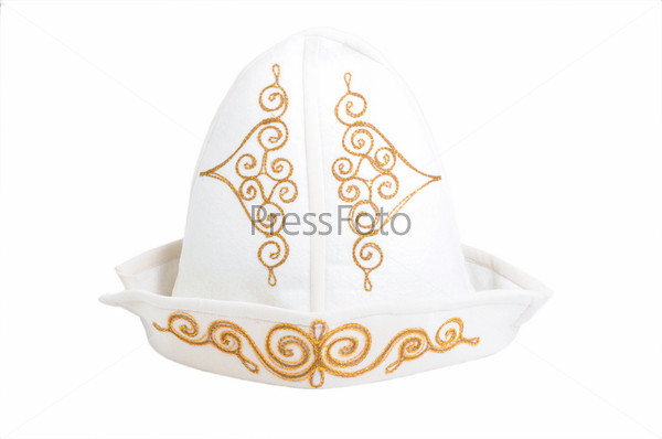 National Kazakh hat, isolated on the white background